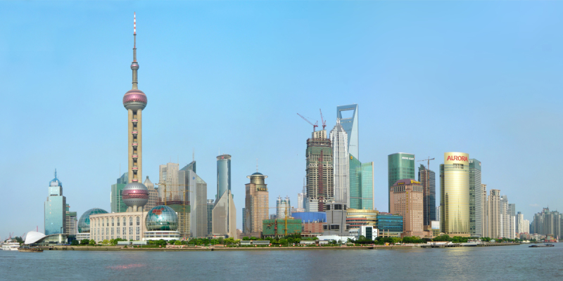 Panorama sticked composite of the Lujiazui Skyline, taken 2008-08-27